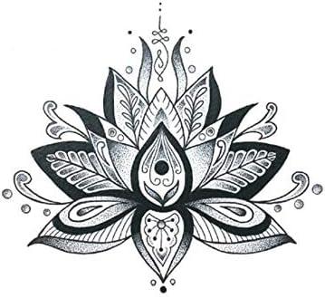 Tatuajes Temporales Unicornio Flores De Loto Grande Etiqueta ...