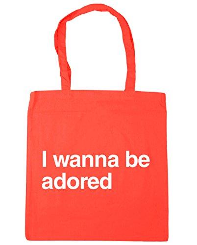 HippoWarehouse I wanna be adored Tote Shopping Gym Beach Bag 42cm x38cm, 10 litres Coral