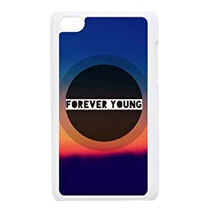 wugdiy New Fashion Hard Back Cover Case for iPod Touch 4 with New Printed Forever Young Watercolor