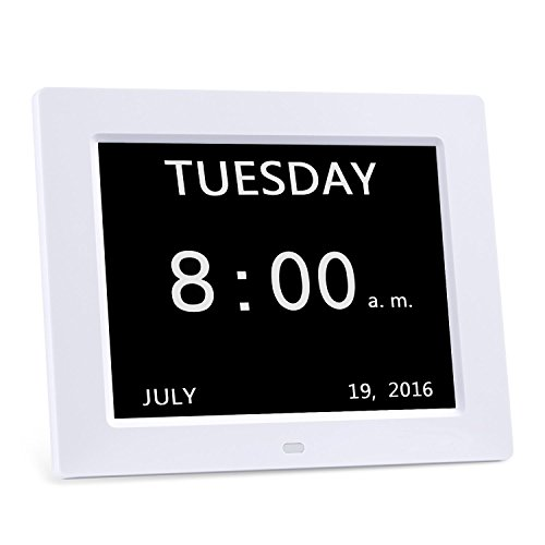 Digital Calendar Clock, HeQiao Memory Loss Alzheimers Dementia Clock Silent Wall Clock for Home Office (8 Inch, 8-Language, Large Display)-White