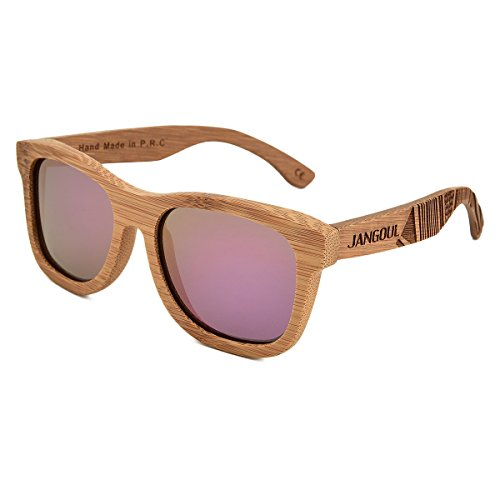 Bamboo Sunglasses Hand Made Wooden Sun Glasses Men Women Polarized Wood glasses (Carbonized Frame, Cherry - Types Of Different Sunglasses Wayfarer