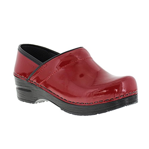 Sanita Patent Red in Patent Leather (Red Patent Leather Danskos)