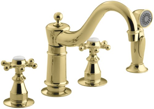 Pb Kitchen Faucet Polished Brass - KOHLER K-158-3-PB Antique Kitchen Sink Faucet, Vibrant Polished Brass