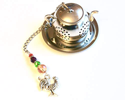 French Country Rooster Tea Infuser with Multi Colored Beads