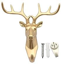 vismile Single Deer Head Antlers Wall Hanger Coat Hat Hook Animal Shaped Decorative Gift Gold