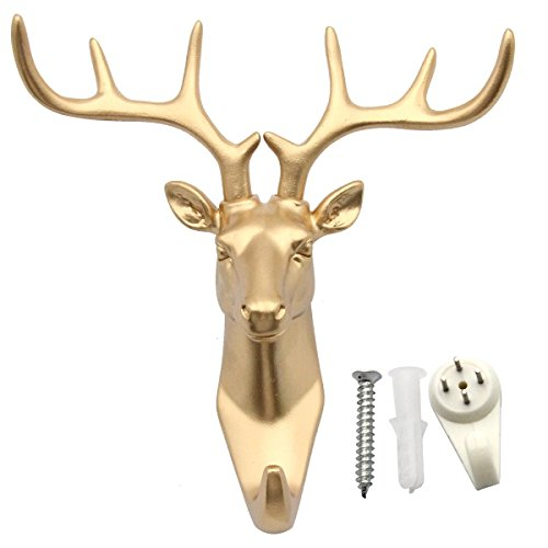 (bouti1583 Single Deer Head Antlers Wall Hanger Coat Hat Hook Animal Shaped Decorative Gift Gold)