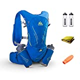 POJNGSN 15L Large Running Bag with 2Pcs 600Ml Bottles Outdoor Reflective Hiking Cycling Backpack Hydration Vest Pack Blue Color