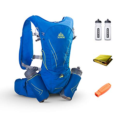 POJNGSN 15L Large Running Bag with 2Pcs 600Ml Bottles Outdoor Reflective Hiking Cycling Backpack Hydration Vest Pack Blue Color by POJNGSN (Image #1)