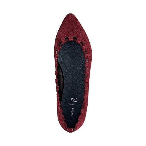 Donna Collections La Traforata Ricamata Redoute Prugna Pelle in Ballerine BT56xqw5E