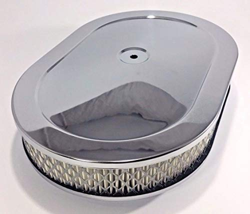 """Chrome 12"""" Oval Classic Air Cleaner Filter Assembly"""