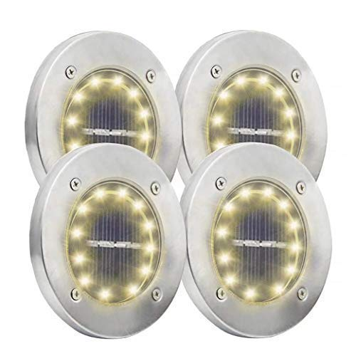 Solar Garden Ground Lights, 12 LED Disc Solar Powered Lights Outdoor Waterproof for Yard Pathway Patio Driveway Pool Deck Lawn Walkway in-Ground Lighting 4 Pack (Warm White, 12 ()