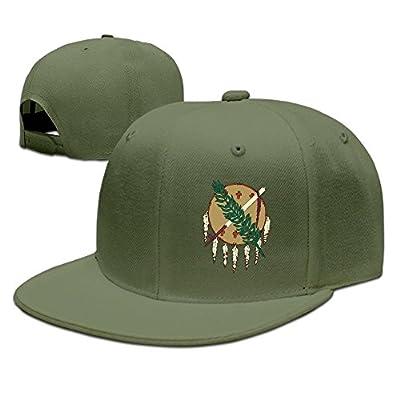 COLIVY Oklahoma Flag Element Design Solid Flat Bill Hip Hop Snapback Baseball Cap Unisex Sunbonnet Hat. by COLIVY