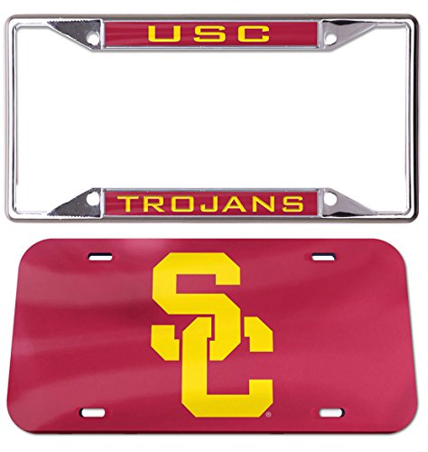 Wincraft Bundle 2 Items: USC Trojans SC Crystal Mirror License Plate and USC Trojans Premium License Plate Frame