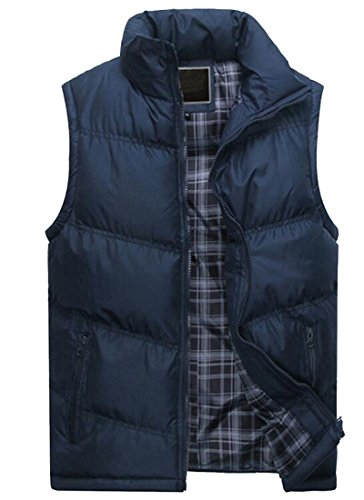 Oberora Mens Sleeveless Drawstring Hooded Quilted Vest Outerwear Blue L