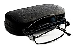Brown Folding Rectangle Reading Glasses-Extra Clear Vision (Includes-Case, Cleaning Cloth and Cord) +1.25 Set of 2
