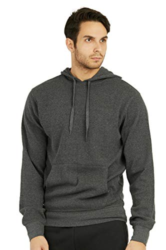 (Men'S Waffle Knit Light Long Sleeve Cotton Pullover Hoodie (M, Ch/Gr) Charcoal)