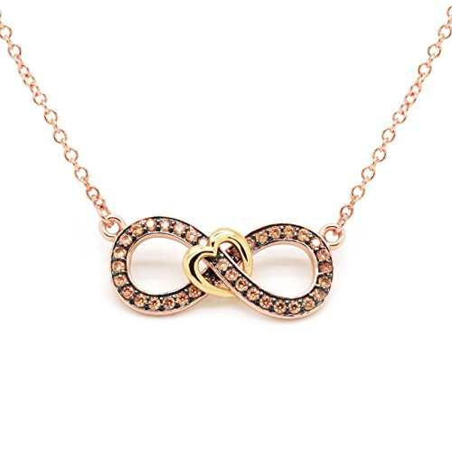 Sparkly Bride Chocolate CZ Heart Necklace Infinity Figure Eight Rose Gold Plated Women (Figure Eight Gold Necklace)
