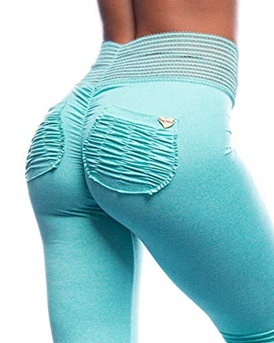 Cute Booty Lounge - Aqua Summer Sorbet Active Small - Moisture Wicking Women's Anti-Microbial Workout Leggings Squat Proof, Sweat Proof, UV Protection with Signature Scrunch Pockets