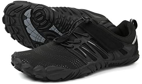 WHITIN Mens Trail Running Shoes Minimalist Barefoot 5 Five Fingers Wide Width Toe Box Gym Workout Fitness Low Zero Drop Male Sneakers Treadmill Free Athletic Ultra Black Size 11