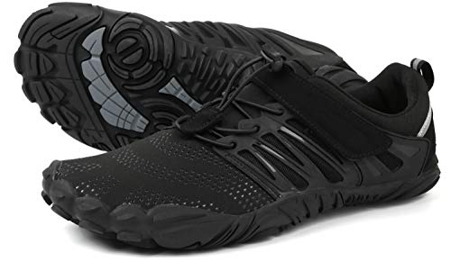 WHITIN Men's Trail Running Shoes Minimalist Barefoot 5 Five Fingers Wide Width Toe Box Gym Workout Fitness Low Zero Drop Male Light Weight Comfy Lite Tennis FiveFingers Black Size 10