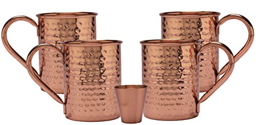 Melange 24 Oz Copper Classic Mug for Moscow Mules, Set of 4 with One Shot Glass - 100% Pure Hammered Copper - Heavy Gauge - No Lining - Includes Free Recipe Card by Melange (Image #1)