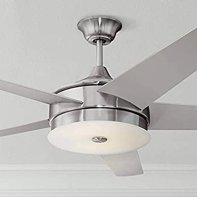 """60"""" Edge Modern Ceiling Fan with Light LED Dimmable Remote Control Brushed Nickel Silver Blades White Frosted Glass for Living Room Kitchen Bedroom Family Dining - Possini Euro Design"""