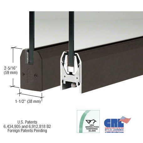Black Bronze Anodized Low Profile Tapered Door Rail Without Lock - 35-3/4'' Length