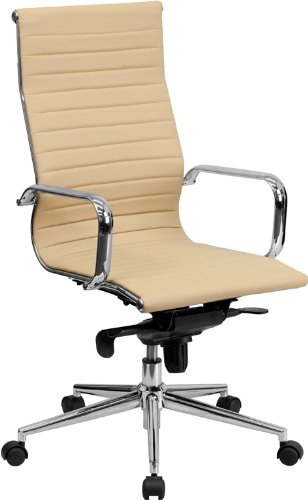 Flash Furniture High Back Tan Ribbed Upholstered Leather Executive Swivel Office Chair