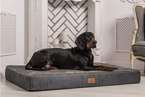 Tierlando Ultra Soft Orthopaedic Dog Mattress Stuart 13 cm Visco plus High-Tech Suede Plush 02 Graphite, STU3   80 x 60 cm