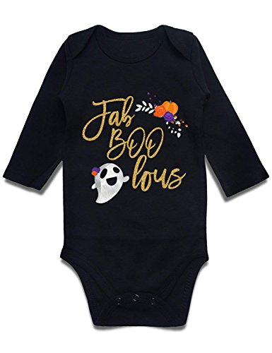 Loveternal Baby boy Gifts Newborn Cotton Romper Infant Rompers Boys Girls Fab Boo Lous Halloween Playsuit Spring Jumpsuit 0-3 Months Black -