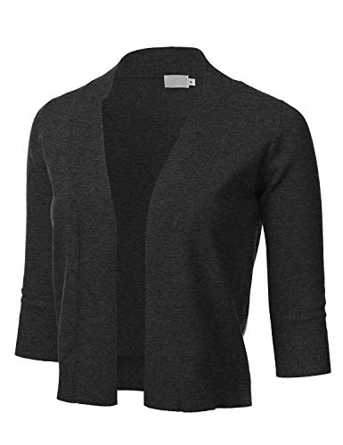 Women's Classic 3/4 Sleeve Open Front Cropped Cardigan CHARCOALGRAY 3XL 3/4 Sleeve Cropped Cardigan