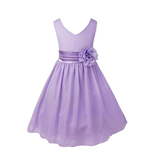 iiniim Kids Girls Chiffon Pageant Wedding Bridesmaid Summer Party Flower Girl Dress Lavender - Girl Dress Summer Flower