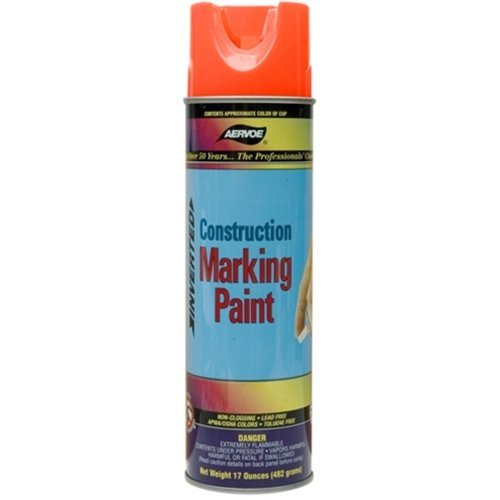 Aervoe 247 Construction Marking Paints, 20 Oz Aerosol Can, Fluorescent Orange (Pack of 12)