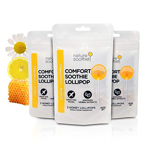 nature soothie Comfort Honey Lollipops Herbal Supplement - Kids & Adults Throat Soothing Pops - Natural Real Honey Chamomile & Lemon Suckers - 3 Count x 3 Packs