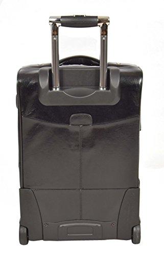 Echtes Leder Kabine Handgepäck Reise-Koffer Räder Teleskopstiele Tasche TOKYO Schwarz