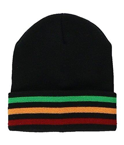 Ecko Unltd. Mens Dub Stripe Beanie Hat black One Size (Knit Stripe Hat Beanie)