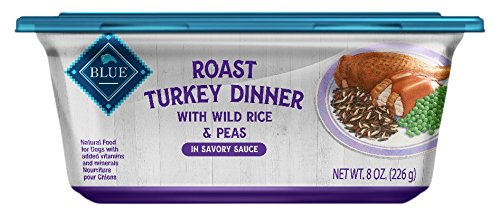 8 oz bluee Buffalo Roast Turkey Dinner Natural Adult Wet Dog Food Tub, Turkey with Wild Rice & Peas 8-Oz (Pack of 8)