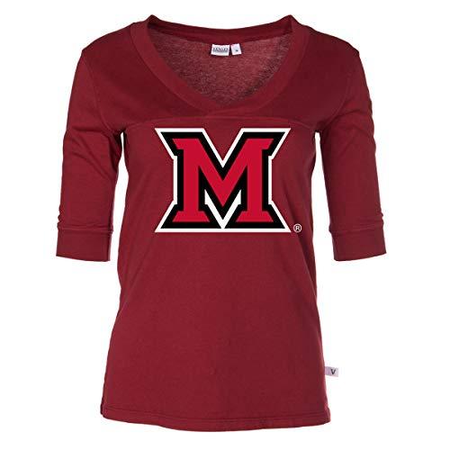 Official NCAA Miami University RedHawks - Women's 3/4 Sleeve Football V-Neck Tee