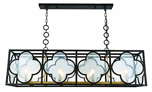 (1526 Trinity Collection Chandelier L:54 W:14 H:16.5 Lt:8 Aged Copper&Golden Iron Finish)
