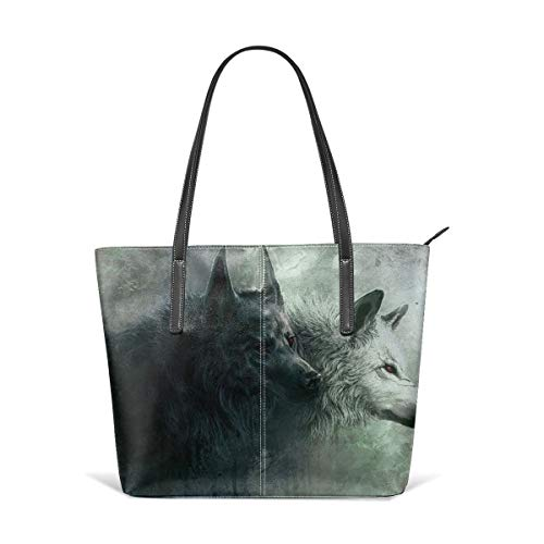 Women's Soft Leather Tote Shoulder Bag Cool Wolf Backgrounds Big Capacity Casual Portable Handbag Purses Work Travel Bag (The Wolf Of Wall Street First Wife)