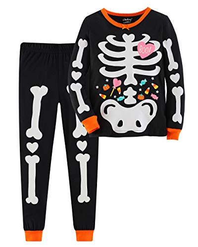 Gorboig Halloween Girls 2 Piece Pajamas Sleepwear Set Shirt&Leggings Kid Children Noctilucent Fluorescence snug Pajamas(6-7YRS)