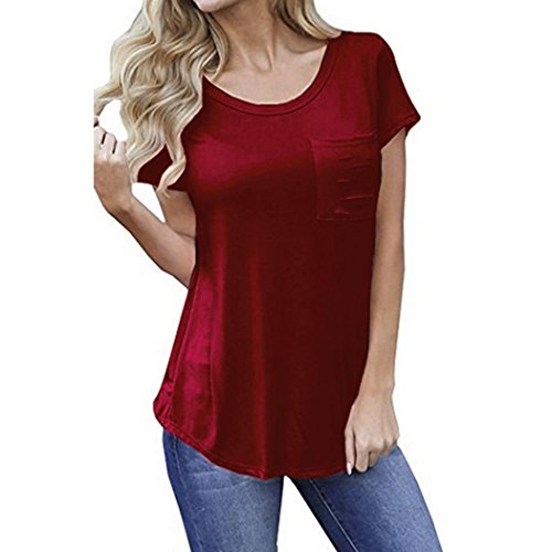 TAORE Womens Tops Women Casual Loose Shirt Pure Hole Short Sleeve Crop Top Blouse With Pocket   (USL=Label SizeXL, Red)
