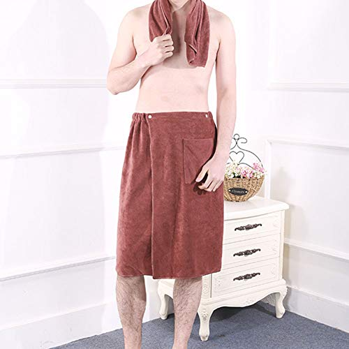 Bath Adult Wrap (BeesClover Men SPA Bath Shower Wrap Towel Bath Skirt Microfiber Blanket Swimming Beach Towel for Adults Brown 70X140)