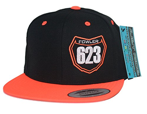 JUST RIDE Custom Personalized Motocross Number Hat Flat Bill Snapback KTM (Neon Orange/Black)
