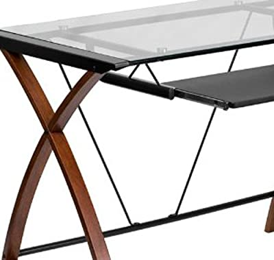 Flash Furniture Glass Computer Desk with Pull-Out Keyboard