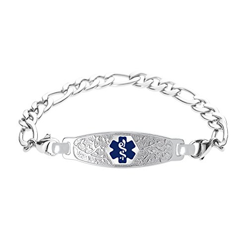 - Divoti Deep Custom Laser Engraved Beautiful Olive Medical Alert Bracelet -Figaro Stainless -Deep Blue-7.5