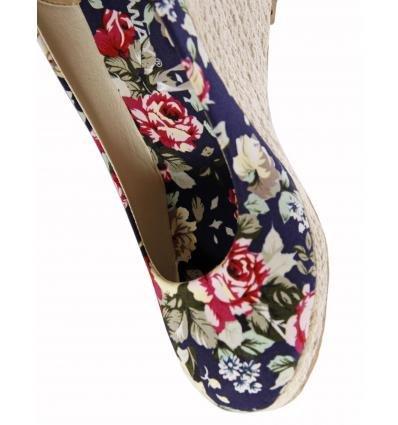 Zapatos de cuña de Mujer URBAN B034803-B7530 NAVY FLORAL