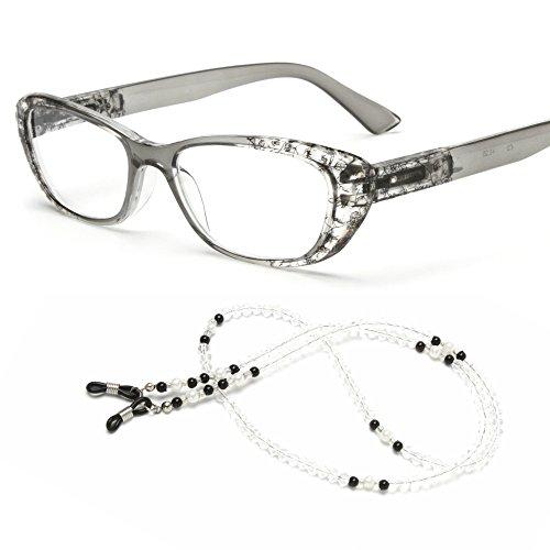 Black Frame 101 Eyeglasses - MIDI Chic Reading Glasses for Women Designed in Japan with Eyeglass Chain and Soft case (+2.50, Black)