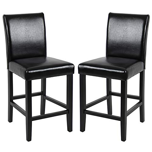 GOTMINSI Classic 24 Inches Counter Height Stools Upholstered Bar Stools with Solid Wood Legs and Black Leather, Set of 2 (Black) ()