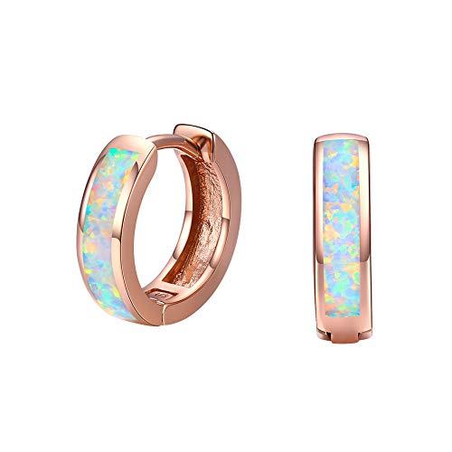 Cuoka Huggie Earrings Small Hoop Earrings Opal Earrings 925 Sterling Silver Rose Gold Huggie Hoop Earrings Hinged Mini Hoop Earrings Bridesmaid Gift Valentine Gift for Women